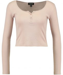 Topshop BUTTON FRONT Camiseta manga larga pink
