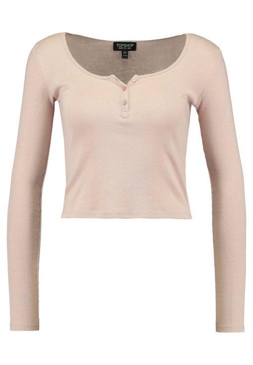 Topshop BUTTON FRONT Camiseta manga larga pink