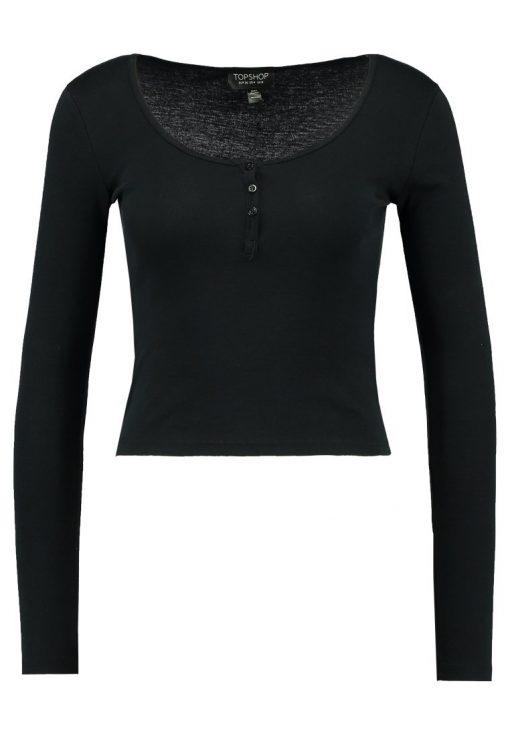 Topshop BUTTON FRONT Camiseta manga larga black