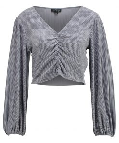 Topshop VELVET CRINKLED RUCHED Camiseta manga larga grey