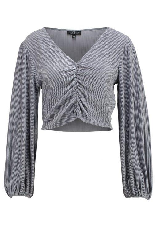 Topshop VELVET CRINKLED RUCHED Camiseta manga larga grey