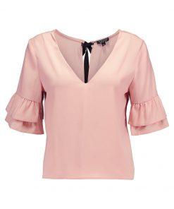 Topshop RUFFLE SLEEVE TIE Blusa blush