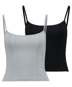 Topshop LUNA CAMI 2 PACK Top black/grey
