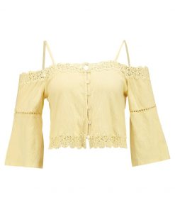 Topshop COLD SHOULDER BARDOT Camiseta manga larga yellow