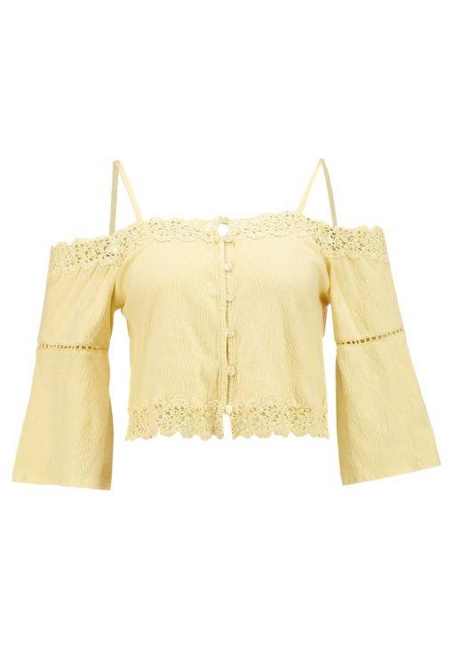 Topshop COLD SHOULDER BARDOT Camiseta manga larga yellow