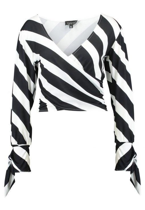 Topshop HUMBUG STRIPE TIE SLEEVE Camiseta manga larga monochrome