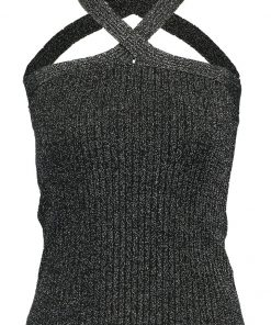 Topshop X NECK BRALET Top black with silver