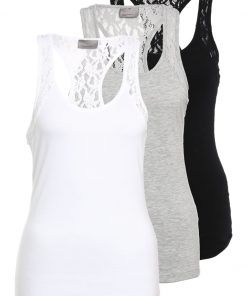 Vero Moda VMMAXI MY SOFT LACE BOXER 3 PACK Top black/bright white/light grey melange