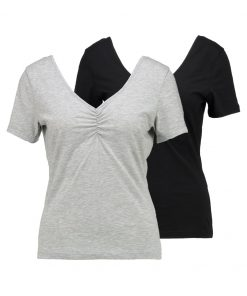 Vero Moda VMMARIELLA SHIRRED NECK 2 PACK Camiseta básica light grey melange/black