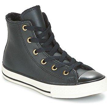 Converse Zapatillas altas CHUCK TAYLOR ALL STAR LEATHER + FUR HI BLACK/BLACK/EGRET para niña